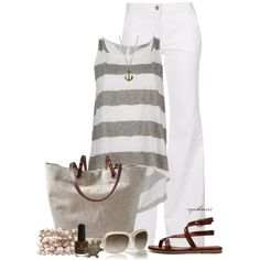Gorgeous gray and white outfit that has summer and ocean written all over it.