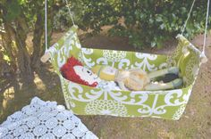What little girl wouldn't love this #DIY hanging doll bassinet! @Randi Edwards used @Waverly fabric to #waverize this adorable doll bed!