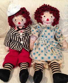 Handmade Vintage Raggedy Ann And Andy Doll 40/50's '19 Inches