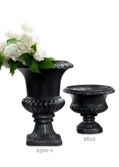 7 and 12in Black Polyresin Urns