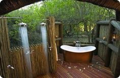 cabin, outdoor bathrooms, outside showers, outdoor baths, dream
