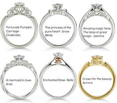 Disney princess engagement rings. What?! I love the belle one bc I love belle but I really love the Cinderella one
