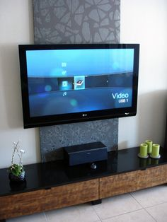 panel inspiration for tv wall mount...i'll build a wood frame, stretch canvas over it to hide the mounting unit and cables living rooms, tv walls, mount unit, hide cables, panel inspir, hide tv cables, wall unit, wood frames, tv wall mount