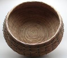 Black Beaded Woven Pine Needle Basket. by Grandma's Nook, via Etsy.
