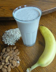 Banana almond oatmeal smoothie: 1/4 c almonds, 1/2 c oats, 2 c almond milk,  1 Tbsp flaxseed, 1 banana, 1 tsp cinnamon, 1 tsp vanilla, 1 tsp maple syrup.