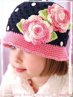 Crochet Hat Inspiration. Here is the Russian web site for it: http://www.li.ru/interface/pda/?jid=4126177=233087983=1=0=/users/montca/post233087983/. Does have diagrams and other pretty photos etc. rose, little girls, polka dots, button, crochet hats, hat patterns, crocheted hats, pink, the navy