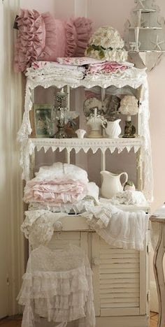 Shabby lace display cabinet