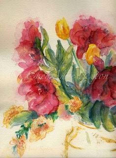 Flower Art  Bouquet of Peony Blossoms watercolor by CheyAnneSexton