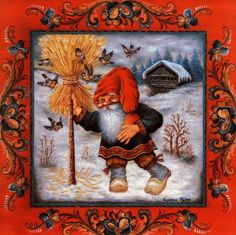 "A seasonal favorite:  Jul Neg Straw Nisse by Suzanne Toftey, a 6"" X 6"" trivet tile"
