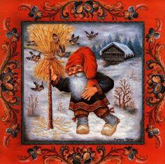 """A seasonal favorite:  Jul Neg Straw Nisse by Suzanne Toftey, a 6"""" X 6"""" trivet tile"""