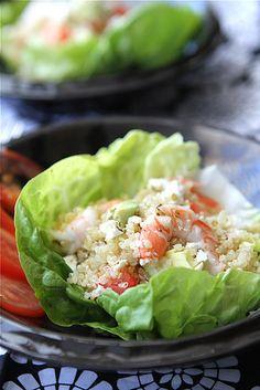 Salad Cups with Quinoa, Shrimp, Avocado & Lemon Dressing
