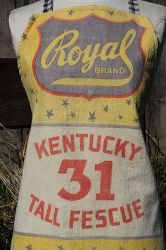 Vintage Feed Sack Fabric Apron. $45.00, via Etsy.