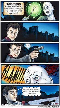 "Harry Potter using a ""muggle"" weapon! LOL!"