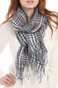 Plaid Scarf In Gray.