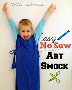easy no sew art smock for kids