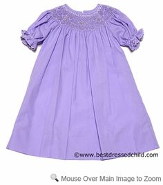 Lezame Kids Girls Lavender Purple Smocked BISHOP Dresses