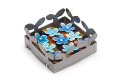 """Marjorie Simon Box of Blossoms Brooch Mild steel, vitreous enamel on fine silver, photograph. 2"""" x 2"""" x .75"""" Fabricated."""