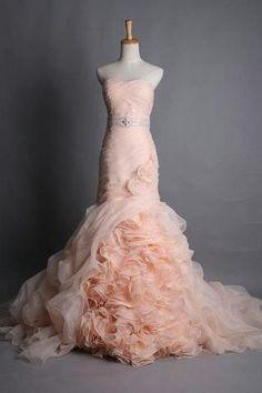 Pink wedding dresses.