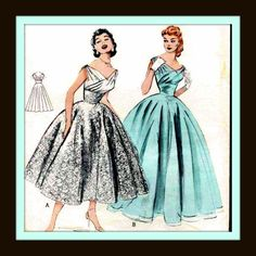 CUSTOM MADE 1950s PATTERN REPRODUCTION WEDDING DRESS GOWN WITH SUPLICE BODICE AND CIRCLE SKIRT IN FULL OR TEA LENGTH 6810 - listing is for all sizes. $230.00, via Etsy.