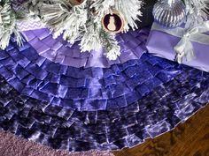 Make a no-sew ruffled ombre Christmas tree skirt.
