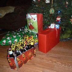 Santa in his sleigh beer being pulled by his reinbeer...