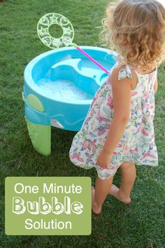How to make an easy, one-minute bubble solution for big, backyard bubbles.