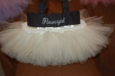 "Black & Ivory Flowergirl Tutu Bag   Name on One Side ~ ""Flowergirl"" on the other!   www.facebook.com/TutuTotesByJodie"