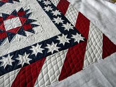 quilting patterns, doodl needl, knit inspir, jenni doodl, septemb 2011, blue quilts, patriotic quilts, red white blue quilt, september