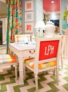 Lilly Pulitzer for Lee Jofa -love the colors and prints and framed fabric