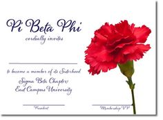 Pi Beta Phi bid day invitations with wine carnation. Custom bid day cards for sorority recruitment. http://www.trulysisters.com/pi-beta-phi-sorority/bid-day-cards/invitation-style-c/