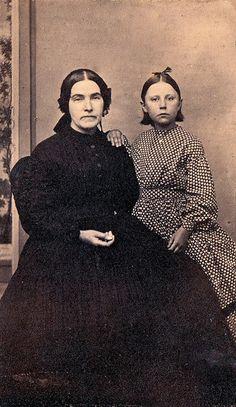 Widow and Child, Unmarked Albumen Carte de Visite, Circa 1862