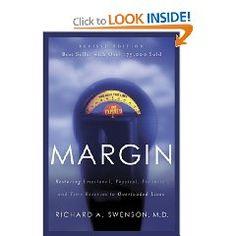 This book discusses how modern-day progress can actually be a detriment to people's personal lives.  While progress allows us to seemingly accomplish more, it also allows us to be overloaded by stimulation, causing us anxiety.   Swenson provides a look at how balancing one's priorities can enable people to take back their much-needed personal time and live a life with margin.