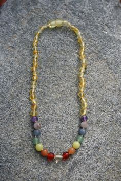 Rainbow Love Teething Necklace with Raw Unpolished by EstanysFlame, $20.00