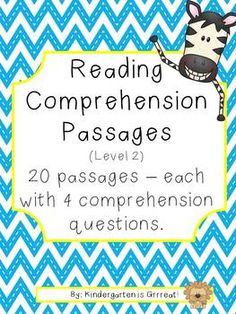 20 Reading Comprehension Passages - short passages with 4 comprehension questions - great for kindergarten but can be adapted to other grades as well!