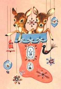 christmas cards, baby deer, vintage christmas, pink christmas, diy gifts, vintage ornaments, christmas greetings, xmas cards, vintage cards