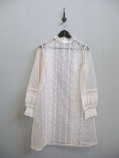 60s Vintage SHEER WHITE EMBROIDERED Hippie Boho Babydoll Wedding Dress