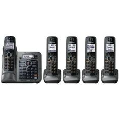 #8: Panasonic KX-TG7645M DECT 6.0 Link-to-Cell via Bluetooth Cordless Phone with Answering System, Metallic Gray, 5 Handsets.