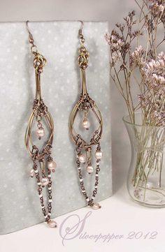 Elegant long tear-drop shaped earrings, wirework, By silverpepper23 on Flickr