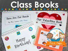 Ideas for making class books in preschool, pre-k, or kindergarten classrooms.