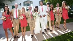 Coral, Khaki, and Creme Wedding Party