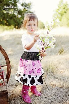 Cowgirl Skirt, Three Tiered Pink and Black Guitars and Boots, Your Custom Size 3M-Girls 5/6
