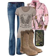 """Country Girl Style #8"" by girlgirl7 on Polyvore country girl style, camo outfit, camo style, boot, camo girl, country girls, camo country outfits, countri girl, country outfits for winter"