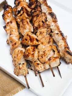 Very easy recipe for Moist Honey Chicken Skewers. They are a hot every time. dinner party menu, summer memories, chicken breasts, camping, moist honey, chicken skewer, easi recip, honey chicken, moist grilled chicken