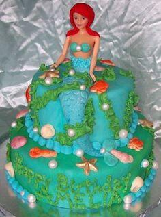 mermaid cake, birthday parti, mermaid parti, stuff, cakes, ariel cake, barbi cake, parti idea, birthday cake