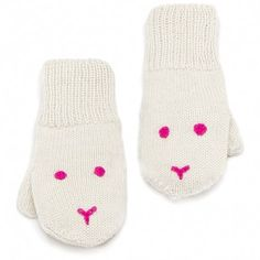 bunny mitts (white/pink)