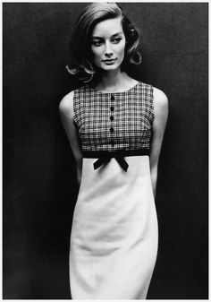 Tania Mallet wearing an empire-line dress by Sambo for Dollyrockers, December 1963. Photo by John French.