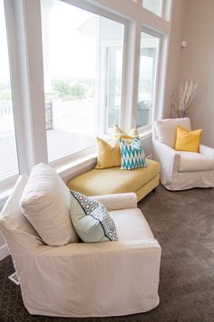 turquoise and yellow | Four Chairs Furniture + Cadence Homes