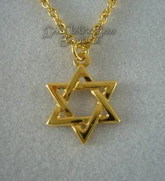 "Star of David Necklace made for 18"" American Girl Doll Clothes GOLD"
