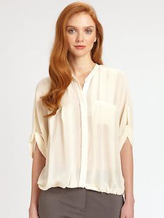 Halston Heritage - Silk Bubble-Hem Top - Saks.com