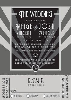 Old Hollywood Wedding Invitation